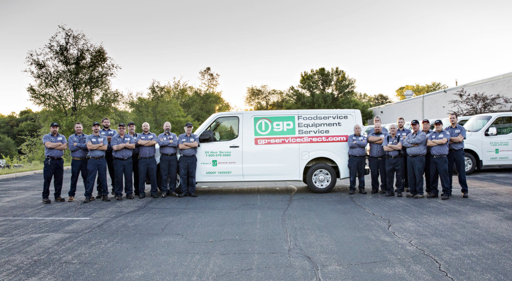 Image of a General Parts Group service van and technicians