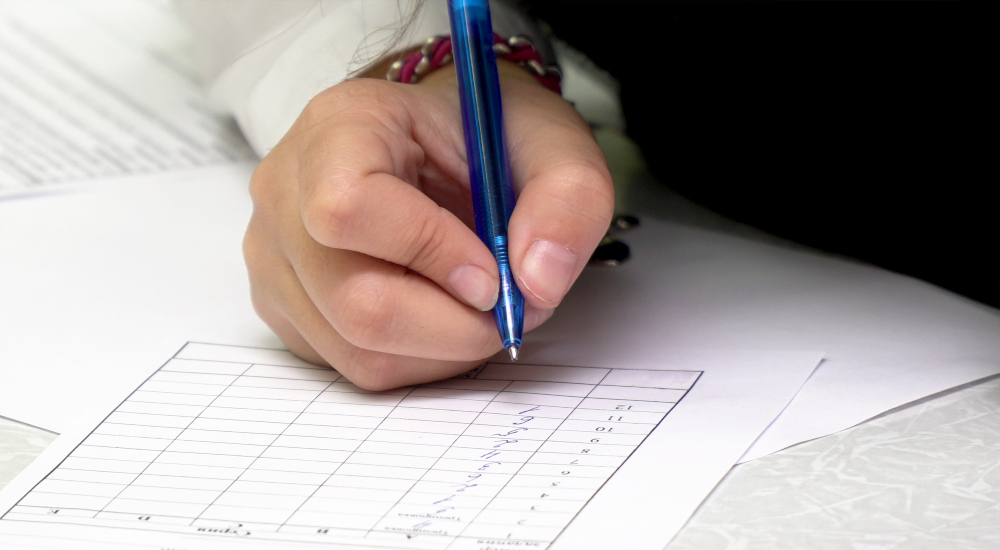 Image of a person completing a check list