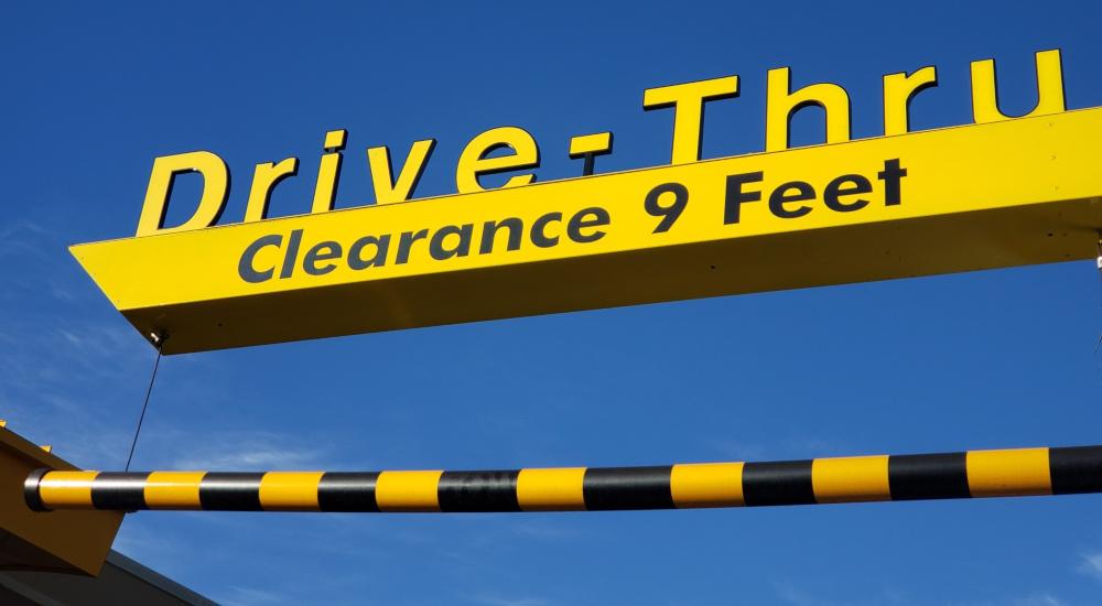 Image of a Restaurant Drive-Thru Entrance Sign