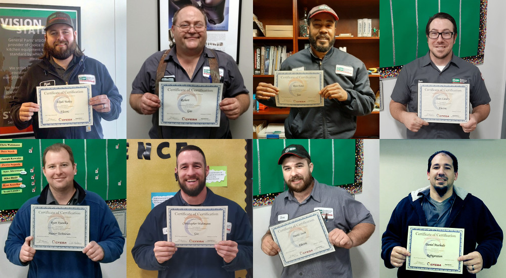 Photo of eight service technicians holding their CFESA certification certificate