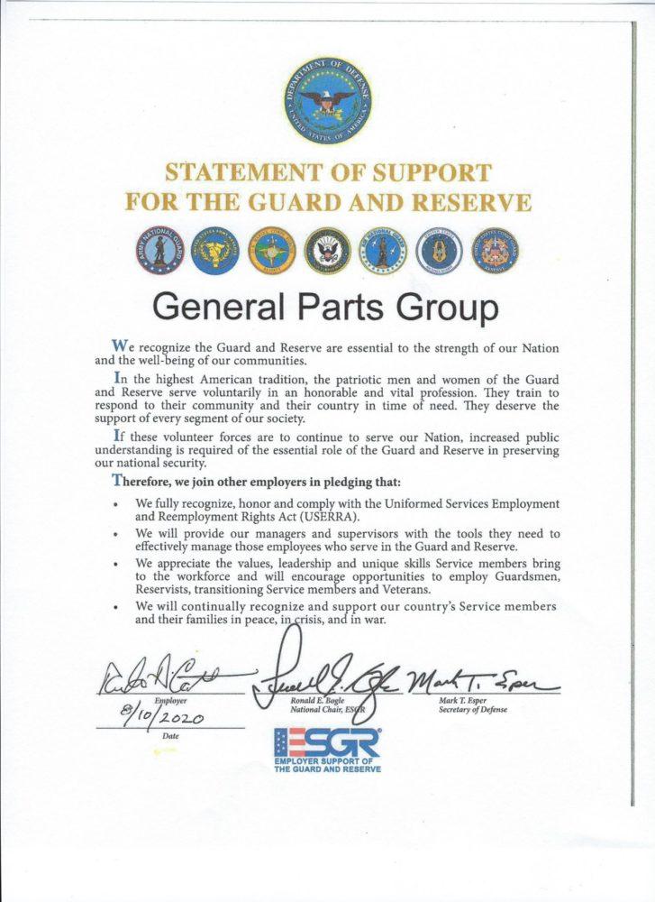 Image of National Guard Award Document