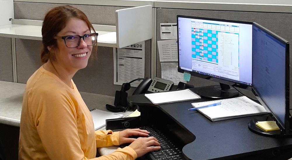 Regional Manager at her desk