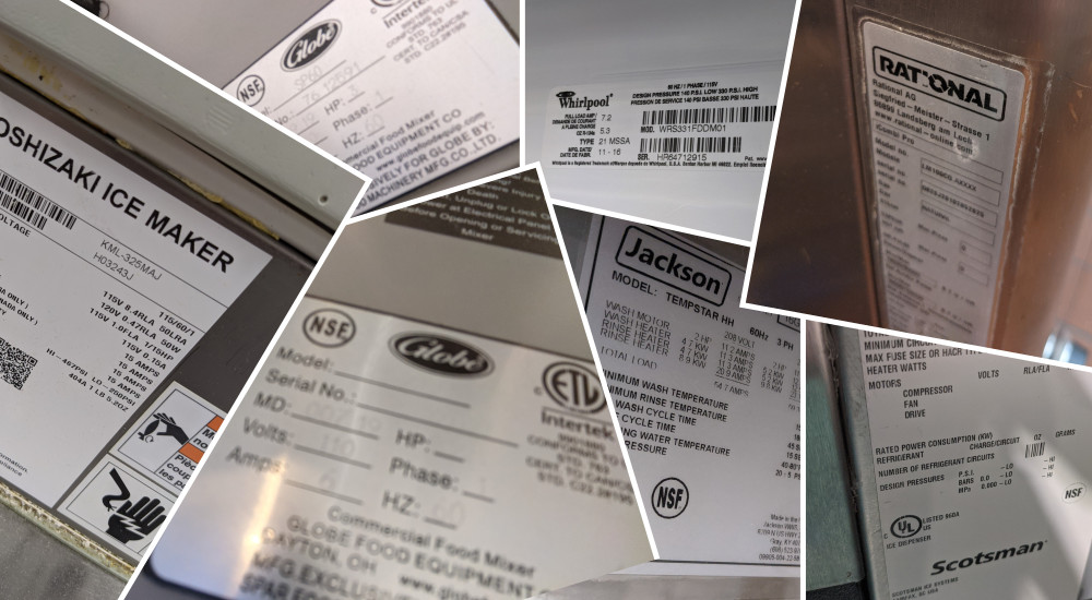 A montage of Commercial Kitchen Equipment Serial Number