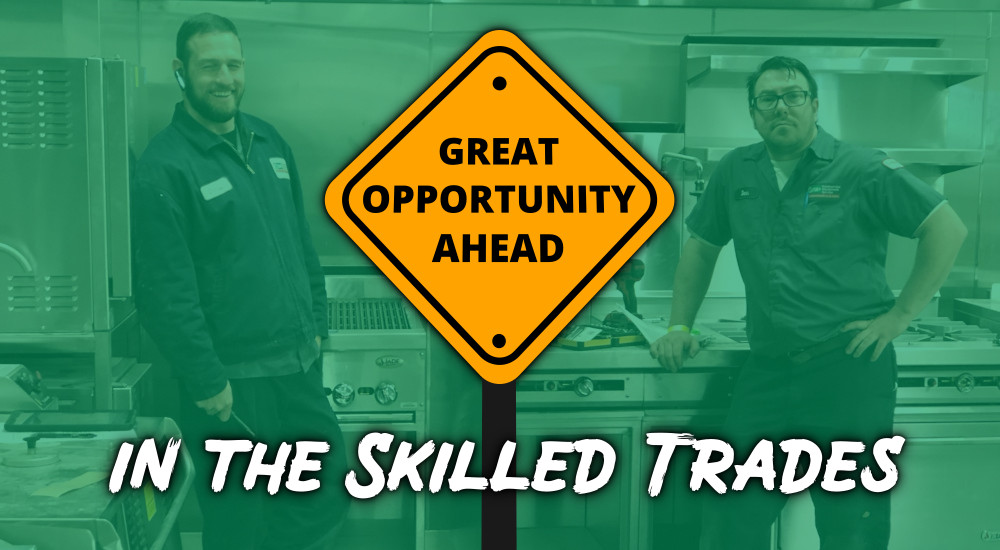 A sign stating Great Opportunity Ahead in the Skilled Trades